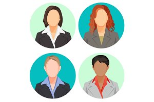 Avatar businesswoman portraits in four circles. Vector user pics