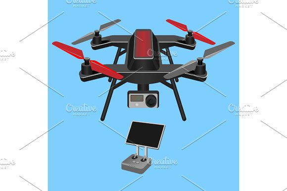 Vector Illustration Of Multirotor Dark-ruddy Helicopter Lifted And Propelle