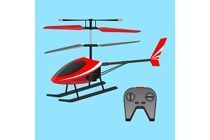 . Red helicopter plaything and black small control panel with buttons.