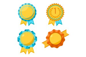 Award golden round signs collection. Elements for awarding winners