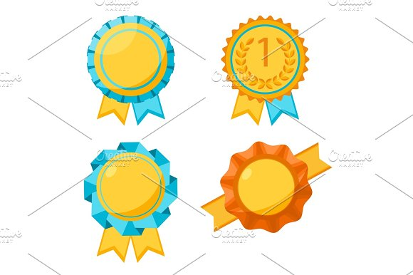 Award Golden Round Signs Collection Elements For Awarding Winners