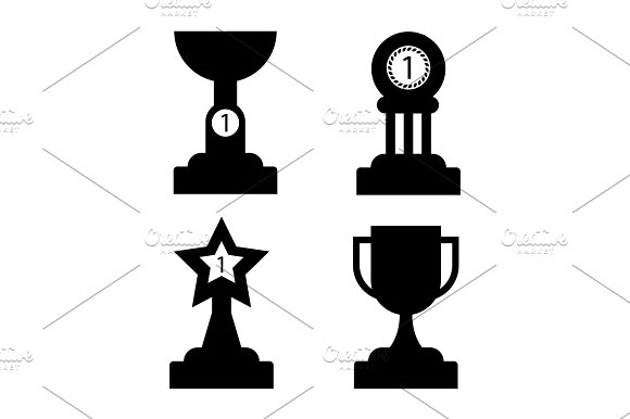 Trophy Golden Awards Collection Of Four Cups On White