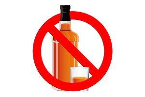 Bottle of alcohol drink and stemware in no allowed sign
