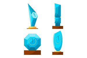 Trophy glass awards collection rewards of different shape isolated.