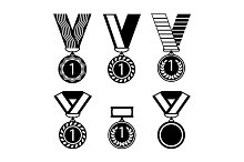 Vector colorful collection of golden medals with first number