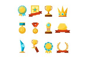 Hanging medals, glass awards, gold cups and crowns collection
