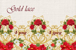 Golden lace curls. Carlands of roses