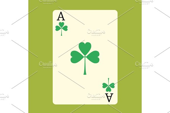 Playing Card ACE With A Green Shamrock Patrick Day