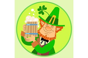 Day Patrick green leprechaun with beer and Shamrock