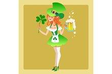 Girl elf green costume St. Patrick day
