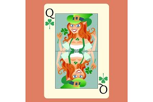 Red-haired elphicke playing card Queen St. Patrick day