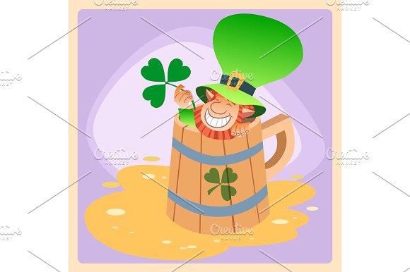 Leprechaun In A Mug Of Beer St Patrick Day