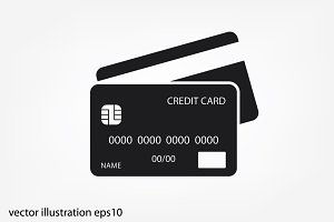 Credit cards vector icon