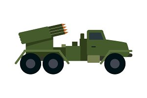 Military Vehicle with Rockets. Armoured Truck
