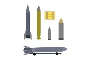 Military Ammunition Types Isolated on White.