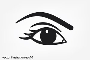woman eye, eyebrow icon