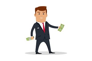 Man Character With Money Vector Illustration