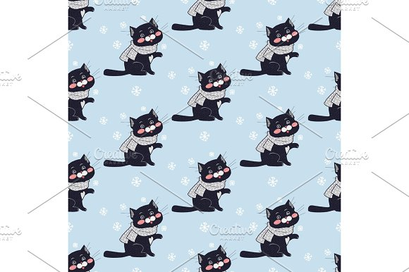 Funny Cats Seamless Pattern Vector In Flat Design