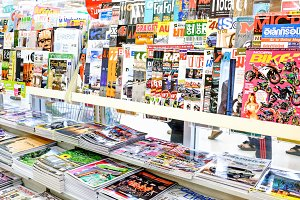 Magazines on display in a store