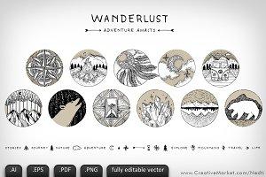 Wanderlust Adventure Doodle Vector