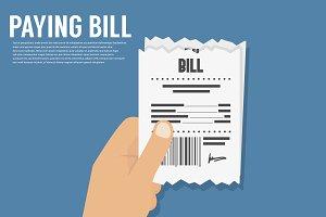 Paying bill. Flat icon