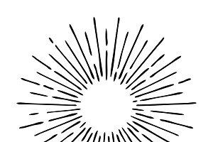 Sun rays hand drawn