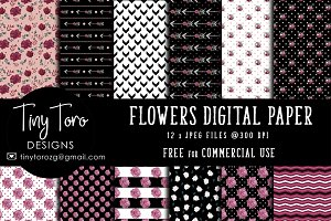 Watercolor flowers patterns pack