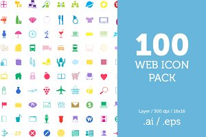 100 Flat Web Icon Pack