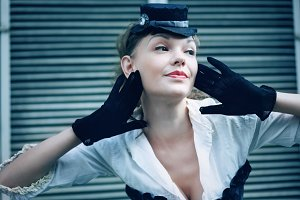 Woman dressed up in retro style
