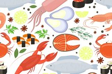 Seafood and spices pattern