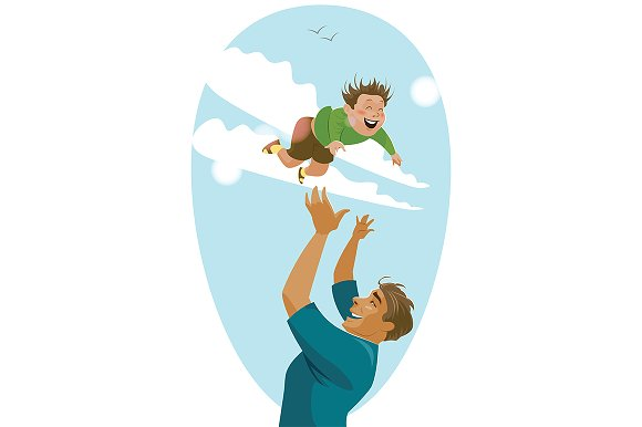 Dad Throws Up His Son In The Sky