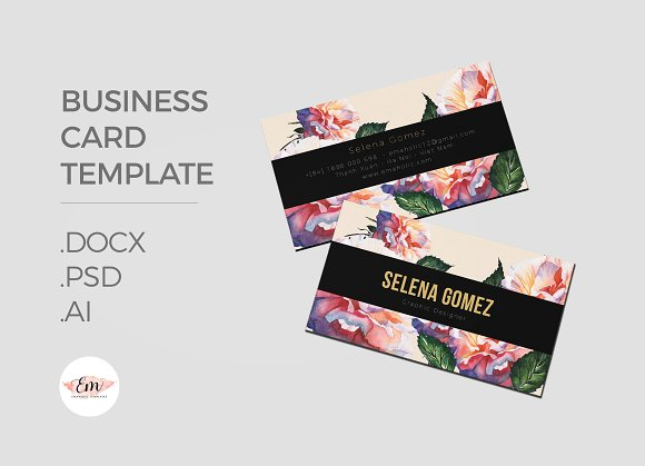 Elegant floral business card business card templates creative market cheaphphosting Gallery