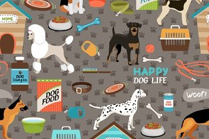 Dogs seamless background pattern