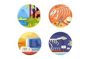 Archeology set of icons