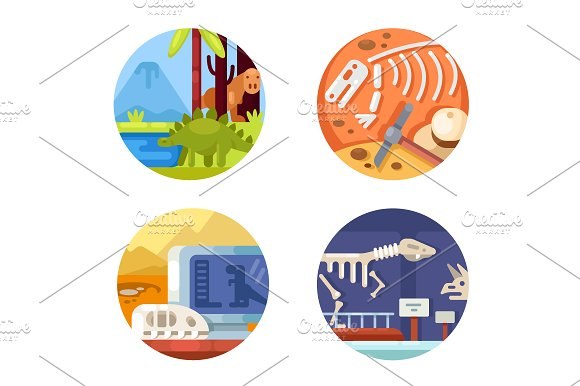 Archeology Set Of Icons