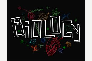 Vector Hand Drawn Biology Lettering