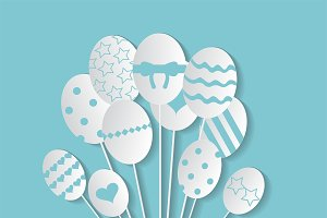 Easter eggs in balloons vector