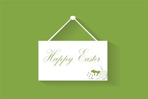 Happy Easter hanging signs vector