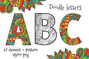 Vector doodle letters
