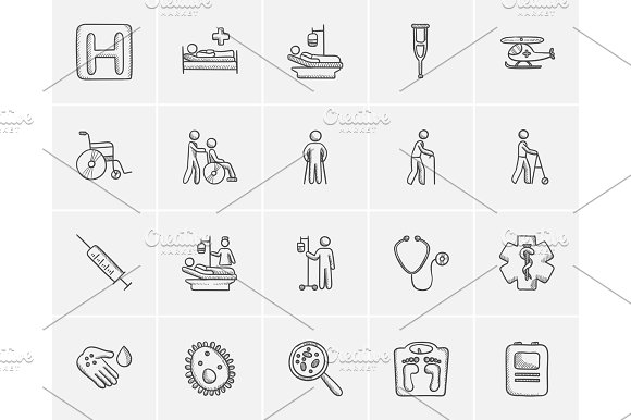 Medicine Sketch Icon Set