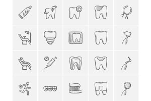 Medicine sketch icon set.