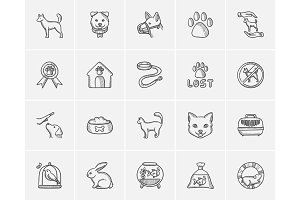 Pets sketch icon set.
