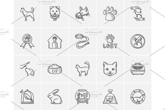 Pets Sketch Icon Set