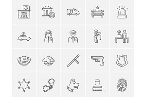 Police sketch icon set.