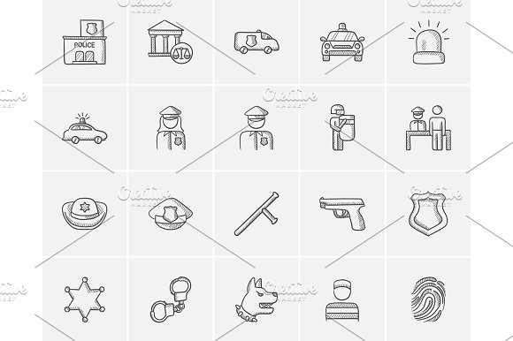 Police Sketch Icon Set