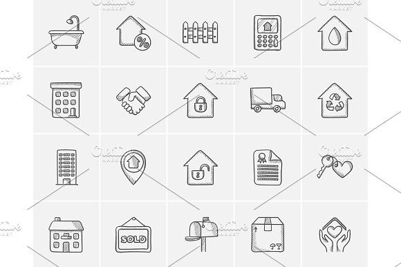 Real Estate Sketch Icon Set