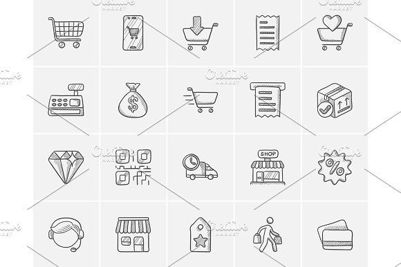 Shopping Sketch Icon Set