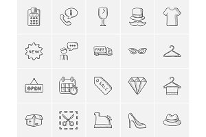 Shopping sketch icon set.
