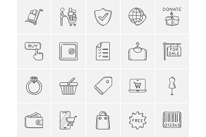 Shopping sketch icon set.