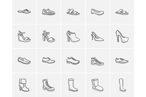 Shoes sketch icon set.